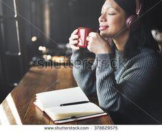 Headphone Listening Coffee Drinking Music Concept
