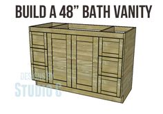 Plans Woodworking DIY Woodworking Plans to Build a Bath Vanity I was contacted by a reader who really liked the vanity Matt and I designed for the Rebel house but the reader asked that the vanity be longer… Diy Bathroom Vanity, Diy Vanity, Bath Vanities, Bathroom Wall, Bathroom Ideas, Basement Bathroom, Bathroom Furniture, Bathroom Crafts, Bathroom Makeovers