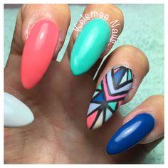 Abstract naildesign over acrylic Nails Tribal nails Aztek nails