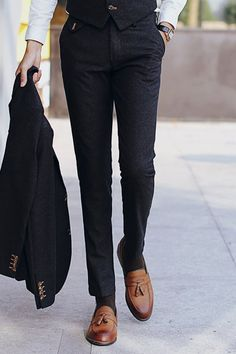 Slimming Solid Color Zipper Fly Straight Leg Pants For Men