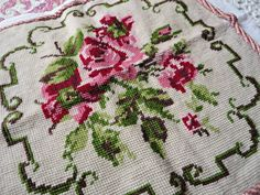 Beautiful Vintage English Roses Needlepoint by CapeCodCupboard, $14.50