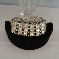 """Art Deco Wide Rhinestone Bracelet Set in Silvertone Metal. (Purchased in an Art Deco Lot). 7"""" wrist only The bracelet is priced at $28.00 and measures over one inch wide. It could be made by Weiss. It is not signed. Add it to your collection or give it as a gift to yourself or for Mother's Day. Take the time to see the photos in our store at Etsy at  www.CCCsVintageJewelry.com Have a great vintage day."""
