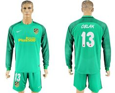 2017-2018 Atletico Madrid #13 Oblak Green Goalkeeper Long Sleeves Soccer Club Jersey