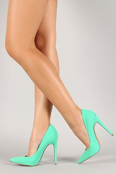 Shop Nubuck leatherette pump with pointy toe, scooped vamp, and stiletto heel. Hot Heels, Sexy Legs And Heels, Pink High Heels, Sexy High Heels, Stiletto Pumps, Pumps Heels, Talons Sexy, Basket A Talon, Pantyhose Heels