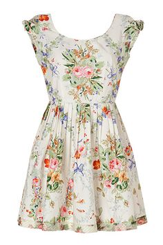 Cotton Floral Print Dress in Cream Multi by ANNA SUI | Luxury fashion online | STYLEBOP.com