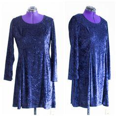 Royal blue crushed velvet dress SIZE 16 by TimeTravelFashions on Etsy