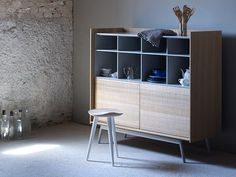 Lacquered highboard with doors EDGE | Highboard - Miniforms
