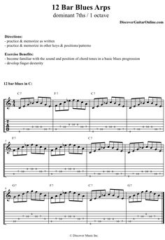 Blues Arp Exercise: 7ths / 1 octave | Discover Guitar Online, Learn to Play Guitar