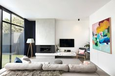 House in Albert Park Village / Kirsty Ristevski Monochromatic Living Room, Living Room White, Living Tv, Living Spaces, Living Rooms, Home Office Design, House Design, Sala Grande, Albert Park