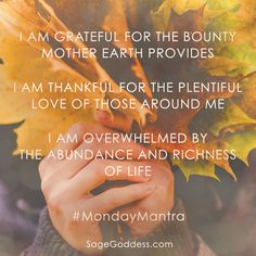 When you live in gratitude, you'll find abundance all around you. Happy Monday, goddesses. Say these words today and any day you need them to remind yourself what you have to be thankful for. #MondayMantra http://www.lawofatractions.com/you-make-your-destiny/