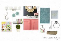 Little Girl's bathroom design plan @ Emma Marie Designs.blogspot.com