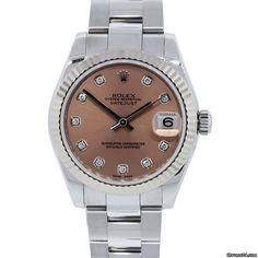 Rolex 178274 Midsize Datejust Salmon Diamond Dial Steel Watch