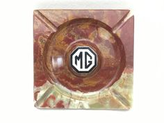 Lovely Vintage Square Onyx Advertising Ashtray Enameled Mg Medallion In Center