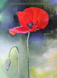 Single poppy, acrylic 30x40 cms