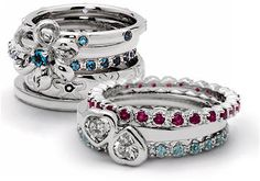 First, many of these rings have some sort of birthstones related to them. Not only is your mom's birthstone on there, but these stackable birthstone rings also have the birthstones of other family members that you choose to use. Usually, you can have the birthstones of you and your siblings, and if you've got the space, you can get the birthstones of the grandchildren that are in the picture as well.  Click Here: http://personalizedstackablemothersrings.com/
