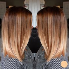 Lob Haare mit weichem Ombre in Kupferblond / Roséblond – # Check more at Praise hair with soft ombre in copper blonde / rose blonde – # Check more at … Balayage Hair Blonde, Brown Blonde Hair, Brunette Hair, Copper Blonde Hair, Auburn Balayage, Auburn Blonde Hair, Blonde Pink, Honey Balayage, Brunette Color