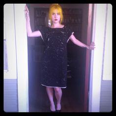 "Catherine Malandrino Dress. Glamorous shift dress, day or evening wear. Black Silk on  Cream silk, swirl cut out pattern. Measures 34"" long can be worn as dress or tunic. NWOT. Catherine Malandrino Dresses Midi"