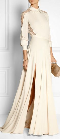 ELIE SAAB Silk crepe de chine maxi skirt & Lace-paneled silk crepe de chine blouse