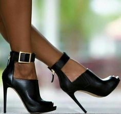 Black Buckle Stilettos