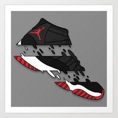 "11 "" Bred "" Art Print by Kodymason - X-Small Handy Wallpaper, Hype Wallpaper, Sneakers Wallpaper, Shoes Wallpaper, Dope Cartoons, Dope Cartoon Art, Sneaker Posters, Jordan Logo, Hypebeast Wallpaper"