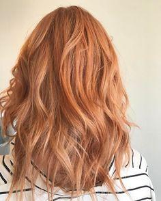 Trends 2018 - Red Hair Color : Pretty peach rose gold strawberry blonde by Aveda Artist Monica Savig. Formula: ... - InWomens.com | Home of Women's Inspiration, Trends & Ideas.