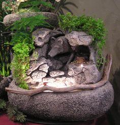 Wolf spirit, miniature garden, fairy garden, water garden