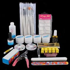 Full Cutter Buffer Brush Acrylic Glue Nail Art UV Gel By Buyinconis by 350buy. $29.95. Great for Both Professional Nail Specialist or Nail Art Learner. Great value combo pack for any nail artist to start doing acrylic nail art at home or inside a studio/ salon. 100% Brand New and High Quality. Package Include: 2 x UV Gel (Clear); 1 x UV Gel (White); 1 x UV Gel (Pink); 1 x Cleanser plus (75ml);1 x Nail art clipper;1 x 12 varied colors of rhinestones;1 x 12 varied colors of pearls...