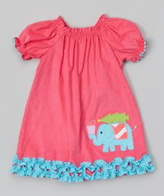 This Stellybelly Pink Elephant Stella Puff-Sleeve Dress - Infant, Toddler & Girls by Stellybelly is perfect! #zulilyfinds