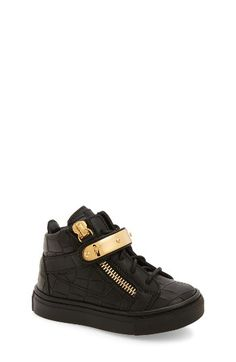 Giuseppe Zanotti High Top Sneaker (Baby, Walker, Toddler & Little Kid) Little Boy Fashion, Baby Boy Fashion, Kids Fashion, Baby Sneakers, High Top Sneakers, Girls Shoes, Baby Shoes, Kids Wear, Giuseppe Zanotti