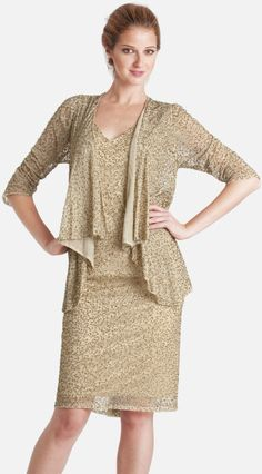 Js Collections Embellished V-Neck Chiffon Dress with Jacket @Lyst
