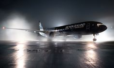 """Air New Zealand Boeing 777-319ER ZK-OKQ at the dramatic unveiling of it's """"All Blacks"""" livery."""
