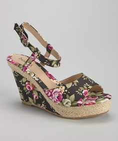 Another great find on #zulily! Black Floral Suzanne Wedge Sandal by Bucco #zulilyfinds