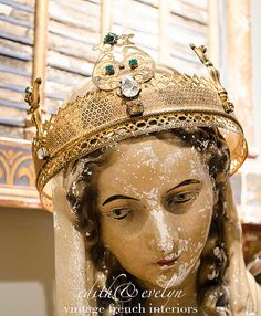 Rare Lg Antique French Madonna Crown Gilt Metal by edithandevelyn