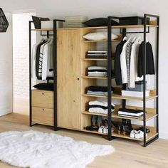 Hiba Solid Pine Unit with Clothes Rail and 2 Drawers LA REDOUTE INTERIEURS .Hiba unit with clothes rail and 2 drawers: A complete unit with clothes rail and two large drawers. Space to store boxes and hats on the top shelf. Hanging Wardrobe, Open Wardrobe, Steel Furniture, Home Furniture, Furniture Design, Modular Wardrobes, Wardrobe Design, Wardrobe Ideas, Wardrobe Storage