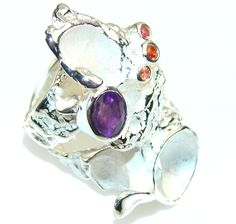 $153.48 Big!! Amazing Italy Made Purple Amethyst Sterling Silver ring; 7 at www.SilverRushStyle.com #ring #handmade #jewelry #silver #amethyst