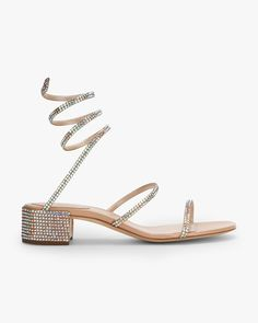 Satin and rhinestone sandals