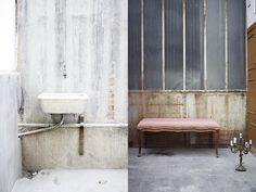 Industrial and concrete - via Coco Lapine Design Industrial Loft, Vintage Industrial, Clawfoot Bathtub, Decor Interior Design, Concrete, Inspiration, Bicycle, Home, Fish