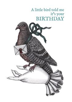 Carrier Pigeon Birthday Card by RheannonOrmond1 on Etsy