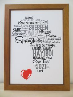 I Love Africa Typography Print / Poster in English door HuggingHippo A3 Size, Africa Art, African Design, Typography Prints, Afrikaans, Print Poster, Prints For Sale, South Africa, Lounge