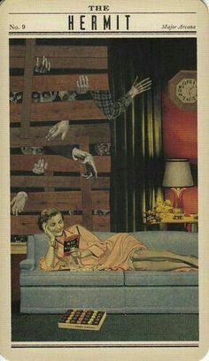 The Hermit Tarot collage mixed media vintage woman reading book sassy Kitsch, The Hermit Tarot, Art Populaire, Tarot Major Arcana, Tarot Readers, Oracle Cards, Tarot Decks, Archetypes, Tarot Cards