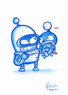 Blue Doodle #20: Bender and Nibbler! | Flickr: Intercambio de fotos