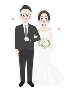 Wedding Illustration, Couple Illustration, Portrait Illustration, Small Flower Drawings, Bride And Groom Cartoon, Wedding Caricature, Love Cartoon Couple, Art Deco Wedding, Couple Drawings