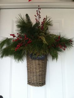 Door basket with holiday greens