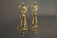 Lovely vermeil, copper, and turquoise Etruscan style filigree dangle earrings. Filigree Earrings, Dangle Earrings, Turquoise Earrings, Jewerly, Dangles, Copper, Google Search, Vintage, Inspiration