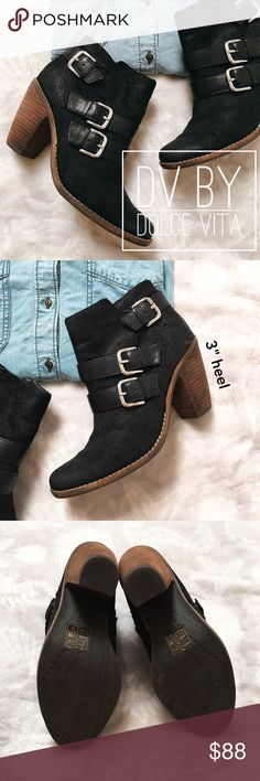 """DV by Dolce Vita black ankle boots Black suede ankle boots with side zip closure and buckle detail. Heel height is approximately 3"""". Only worn a couple times. Shoebox not included. DV by Dolce Vita Shoes Ankle Boots & Booties"""