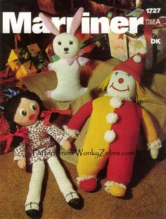 marriner1727  set of knitted toys . the pattern is for a clown, bunny and beautiful doll to knit. WZ516 from WonkyZebra