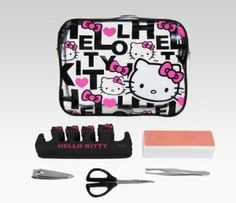 """Hello Kitty Nail Care Set With Pouch: Black Quilt by Hello Kitty. $9.95. includes 1 vinyl pouch, 1 nail buffer, 2 toe separators, 1 nail clipper, 1 mini scissors and 1 pair of tweezers. pouch is 5"""" x 1.5"""" x 6.25"""". Keep away from small children. Nail clipper, scissors and tweezers have sharp functional edges.. Stay fabulous looking with this nail care set including carry pouch. Pouch is vinyl with zip closure featuring stylish Hello Kitty pattern with her face and name pri... Hello Kitty Nails, Nail Scissors, Aleta, Tear, Black Quilt, Nail Tools, Nail Clippers, Beauty Nails, Nail Care"""