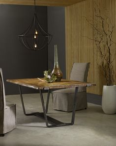 This dining table is part of the new Live Edge Collection introduced by Hooker Furniture.