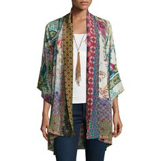 Johnny Was Collection Dream Kimono Printed Jacket ($270) ❤ liked on Polyvore featuring outerwear, jackets, multi print b, shawl collar jacket, print kimono, pattern jacket, kimono jacket and kimono sleeve jacket