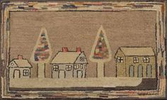 Wool Pictorial Hooked Rug with Houses and Christmas Trees | Sale Number 2349, Lot Number 46 | Skinner Auctioneers
